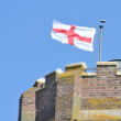 Detail of Castle Tower with George Cross — Foto Stock