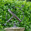 Sun dial with hedge in background — Stock Photo
