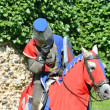 ストック写真: Knight on Horseback leaning forward