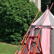 Row of jousting lances on tent — Stockfoto #30600057