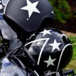 Stock Photo: Black Motorcycle Helmets