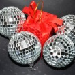 Silver Christmas Baubles and red box — Stock Photo
