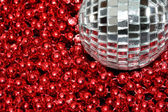 Silver Bauble red beads — Stock Photo