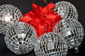 Silver Baubles and red box — Stock Photo