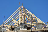 Wooden apex roof under construction — Stock Photo