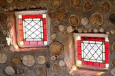 Two small red stained glass windows — Foto de Stock