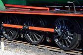Three steam train wheels — Stock Photo