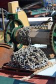 Anchor chain on boat — Stock Photo