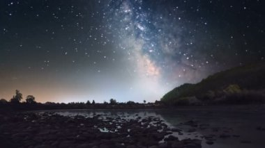 Milky way over mountain river — Stock Video