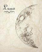 Vintage moon ritning — Stockfoto