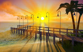 Tropical pier at dusk — Stock Photo