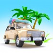SUV adventure with palm — Stock Photo