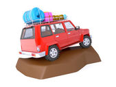 SUV adventure with rock — Stock Photo