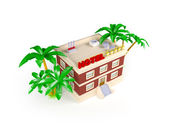 3d hotel in the tropics — Stock Photo