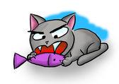 猫吃鱼 — 图库照片