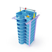 3d printing skyscraper — Stock Photo