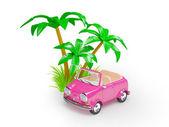 ビーチでピンクの小さな車 — ストック写真