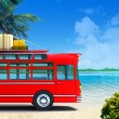 Red bus adventure on beach — Stock Photo #6406551