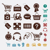 Shopping set of icons — Stock Vector