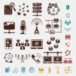 Connection set of icons — Stock Vector
