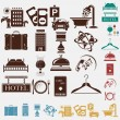 Tourism set of icons — Stock Vector
