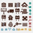 real estate icons in five colors — Stock Vector
