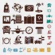Travel icon set in five colors — Stock Vector