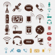 Set of wireless icons in five colors — Imagen vectorial
