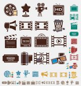 Filmen ikoner i sex färger — Stockvektor