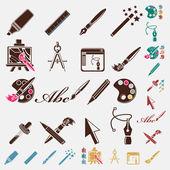 Pen icons set — Stock Vector