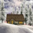 Winter cottage — Stock Photo