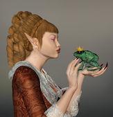 Beautiful elf with frog — Stock Photo