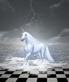 Unicorn on the water — Stock Photo