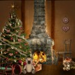 Christmas room with christmas tree, fireplace and presents - Stock Photo