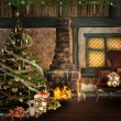 Lovely christmas illustration with a beautiful christmas tree, fireplace and presents - Stock Photo