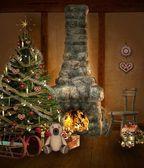 Christmas room with christmas tree, fireplace and presents — Stock Photo