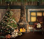 Lovely christmas illustration with a beautiful christmas tree, fireplace and presents — Stock Photo