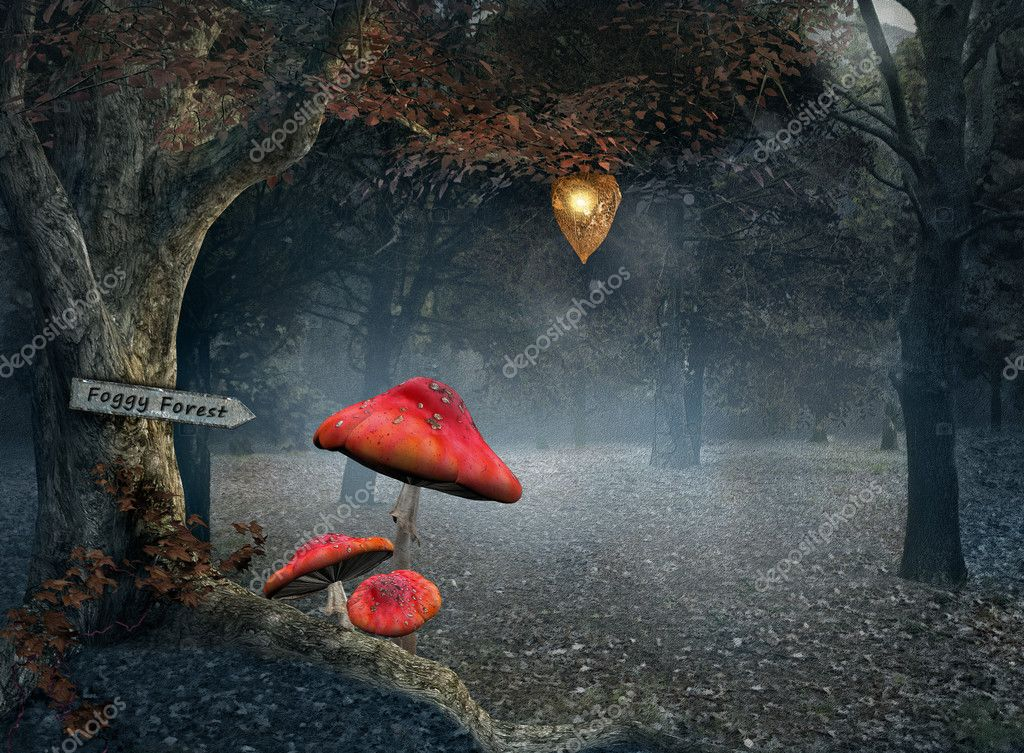 Фотообои Autumnal forest with fog and red mushrooms