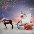Christmas sleigh of santa claus with gifts and reindeer illustration — Stock Photo #15333827