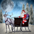 Illustration of Santa Claus in a sleigh with reindeer — Stock Photo #15334221