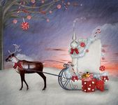 Christmas sleigh of santa claus with gifts and reindeer illustration — Stock Photo