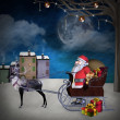 Royalty-Free Stock Photo: Santa Claus and sleigh near a winter village