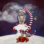 Christmas Owl - Whimsical Christmas Illustration — Stock Photo