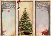 Set of vintage labels with christmas trees — Stock Photo