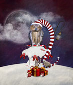 Christmas Owl - Whimsical Christmas Illustration — Stock Photo