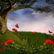 Enchanted nature series - Poppies hill - Stock Photo