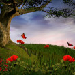 Stockfoto: Enchanted nature series - Poppies hill