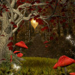Enchanted nature series - red forest — Stok Fotoğraf #22806064