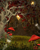 Enchanted nature series - the red forest — Stock Photo