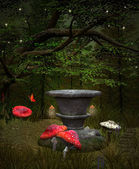 Midsummer night's dream series - Fairies pedestal in the middle of the forest — Stock Photo